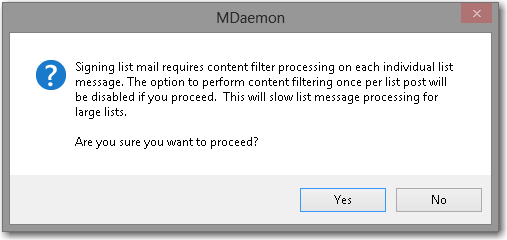 informational pop-up notification for enabling DKIM signing for mailing list message in MDaemon email server