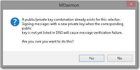 notification pop-up when creating dkim keys in the mdaemon email server
