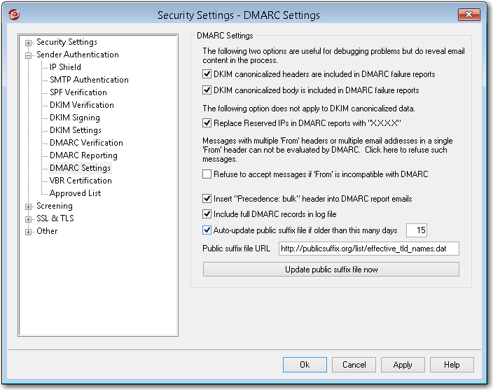 mdaemon email server dmarc settings to auto-update public suffix file after a period of time