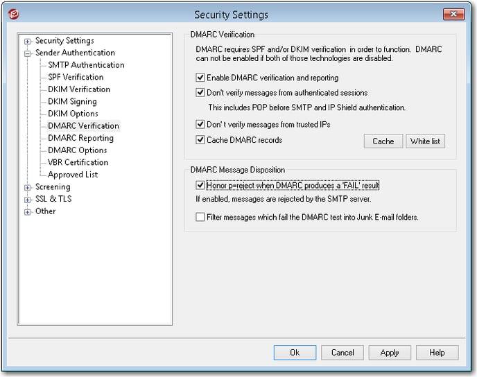 mdaemon email server dmarc verification message disposition menu