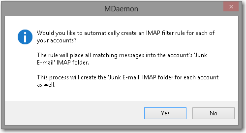 mdaemon email server verification for creating a imap filter rule