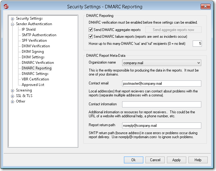 mdaemon email server dmarc reporting tool for sending out aggregate and failure reports