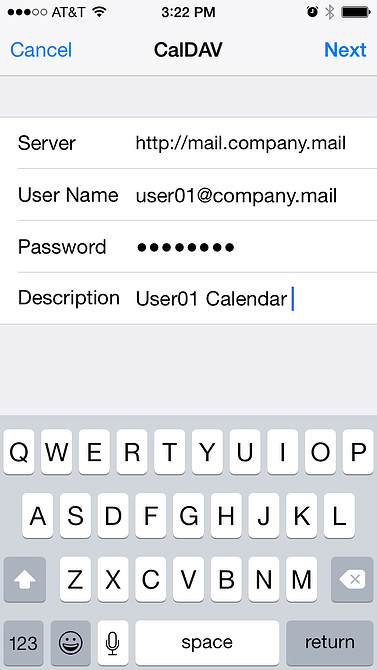 entering mdaemon email server account information on iphone to sync calendars using caldav