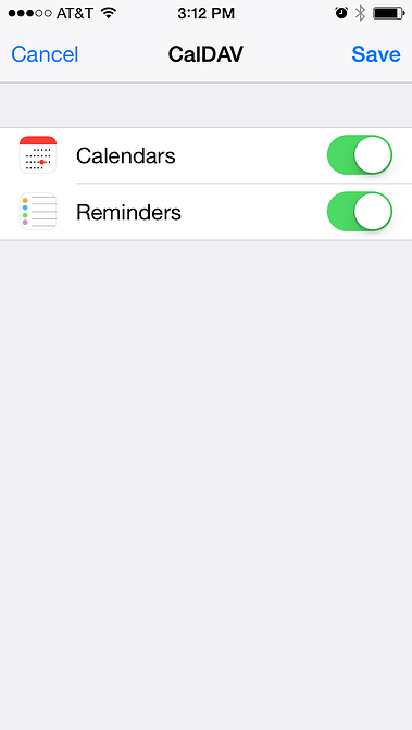 choosing to sync calendars or tasks from the mdaemon email server account to sync to the iphone