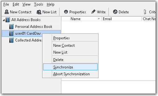 sync mdaemon account contacts to Mozilla Thunderbird via CardDav