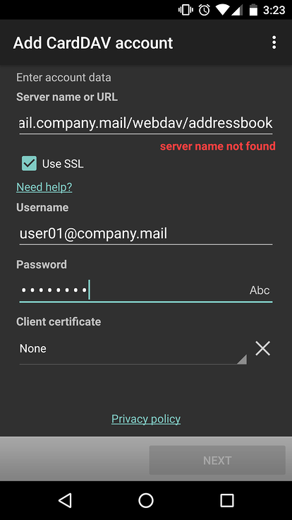 entering mdaemon email server account user name and password to sync contacts on an android device using carddav