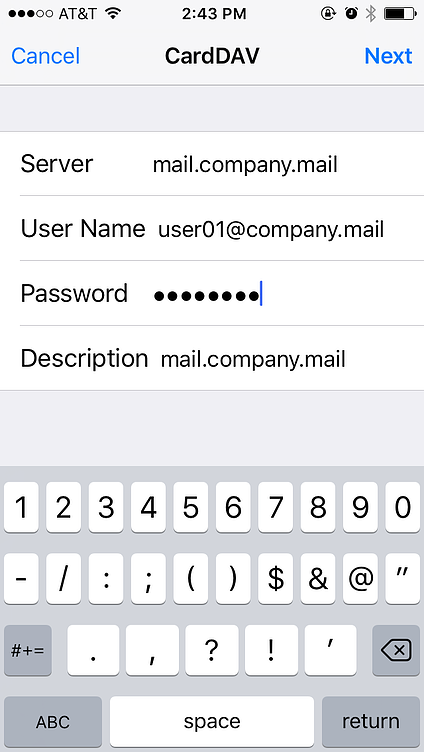 setup mdaemon email server account contacts on apple iphone or ios device using carddav