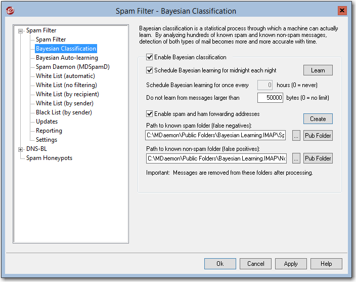 mdaemon email server bayesian classification recommended security settings