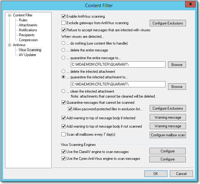 mdaemon email server recommended antivirus configuration