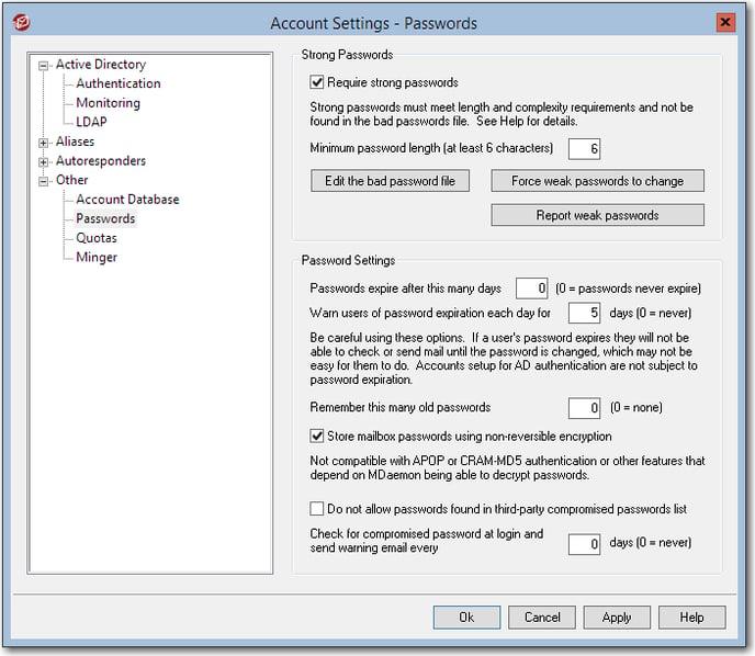 mdaemon email server menu to enable non-reversible encryption password storage option