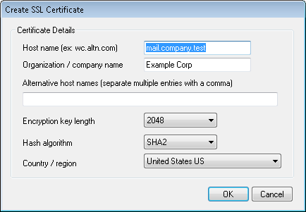 ssl self signed certificate creation window in mdaemon email server software