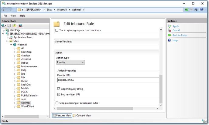 iis mdaemon webmail mobile edit rule inbound
