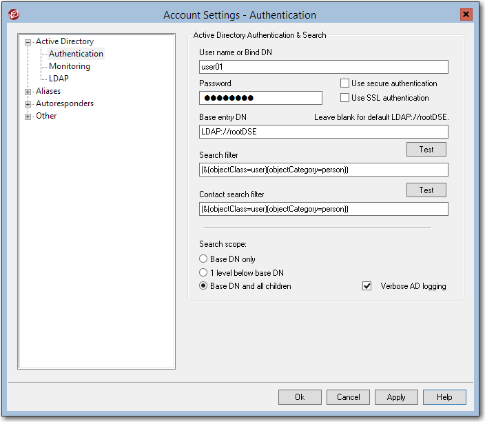 active directory authentication mdaemon