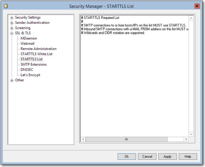 mdaemon starttls list required ssl tls