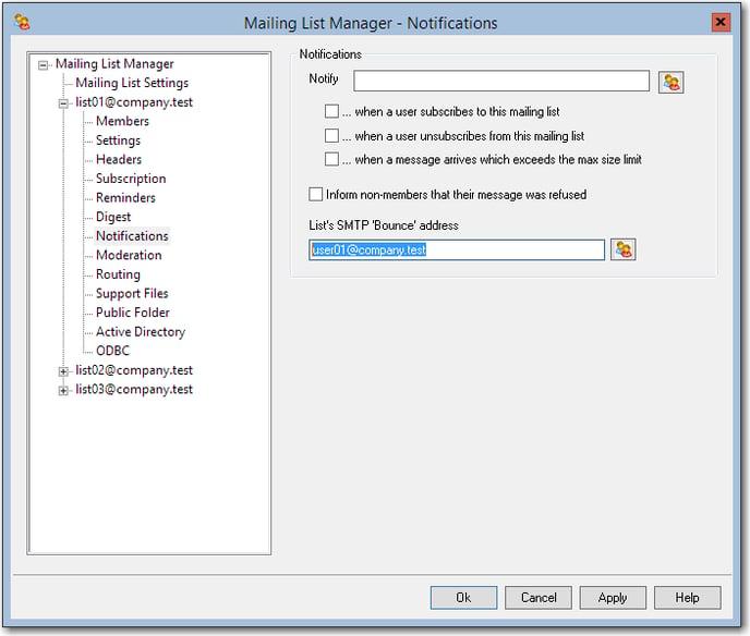 smtp bounce address mailing list text box
